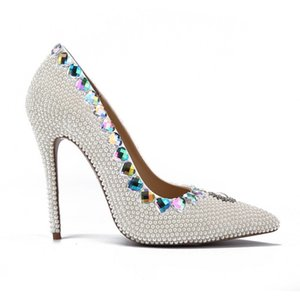 New Women Dress Shoes Heart Shaped Crystal Decoration Bead Pumps Slip On For Women Pointed Toe Nightclub Wedding High Heel Shoes