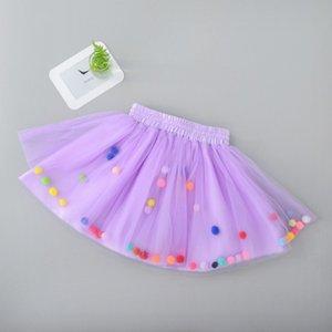 2019 Summer Baby MultilayerTutu Skirt Colorful Pom Pom Princess Mini vestido Ropa para niños Pettiskirt Girl Clothes sk19022