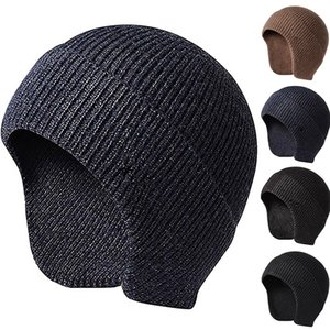 Men Women Ski Beanie Winter Warm Casual Soft Stretch Students Outdoor Knit Hat Ear Flap Autumn Solid Work