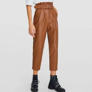 Takviyesiz 2020 Sonbahar Kış Kadın Black Coffee Hight Bel Sahte Deri Suit Pantolon Ofisi Bayanlar PU Deri pantolonlar Pockets
