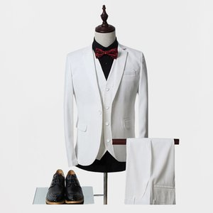 High Quality one Button white Groom Tuxedos Notch Lapel Groomsmen Men Wedding Suits Bridegroom (Jacket+Pants+Vest+Tie) NO:38