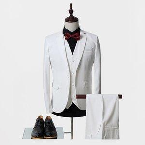 High Quality one Button white Groom Tuxedos Notch Lapel Groomsmen Men Wedding Suits Bridegroom (Jacket+Pants+Vest+Tie) NO:38