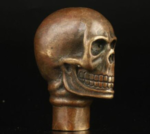 아시아 중국 오래 된 청동 손으로 만든 두개골 동상 산책 스틱 헤드