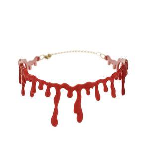 펑크 코스프레 파티 초커 창조적 목걸이 고딕 남성 할로윈 파티 보석 혈액 드립 칼라 목걸이 팜므 비쥬