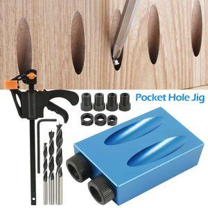 15pcs bolso Buraco Jig Kit 6/8 / 10mm ângulo de broca Guia Set Woodwoorking ferramenta furador Locator Jig broca Ferramentas da carpintaria