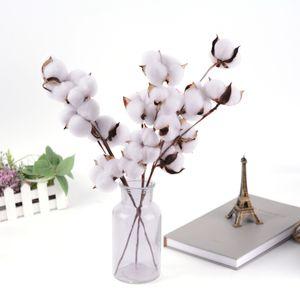 Naturally Dried Cotton Stems Farmhouse Artificial Flower Filler Floral Decor Fake Cotton Flower DIY material garland home decor
