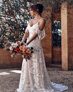 Dantel Plaj Boho Gelinlik 2020 Vintage Bohemia A Hattı Vestido De Noiva V Yaka Püskül Spagetti sapanlar Backless Wedding Gelinlik
