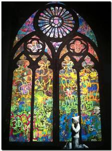 Бэнкси стрит-арт с капюшоном парень молиться собор Home Decor ручная роспись HD печать маслом на холсте стены искусства холст картины 191117