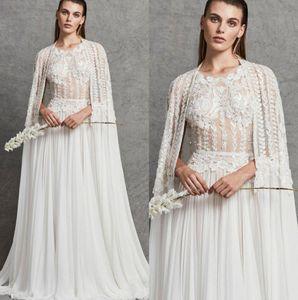 Zuhair Murad Brautkleider A-Linie Spitze Appliqued Chiffon- plus Größen-Brautkleid-Vestido De Novia mit Cape