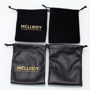 Mcllroy Borsa personalizzata in velluto per anelli braccialetti collana borsa PU pacchetto gioielli personalizza logo san valentino all'ingrosso