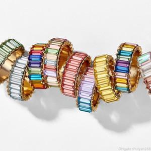 Boho CZ cristal Rhinestone do arco-íris para o anel Mulheres Vintage dedo anéis coloridos Declaração Banda Anéis partido Acessórios de jóias de casamento