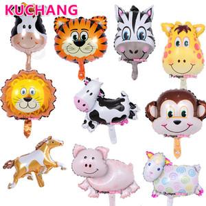 50 unids / lote Mini Lion Monkey Ladybug Cabeza de vaca Animal Foil Globos Niños Cumpleaños Granja Zoo Tema Decoraciones para fiestas Juguetes Globos de aire SH190913