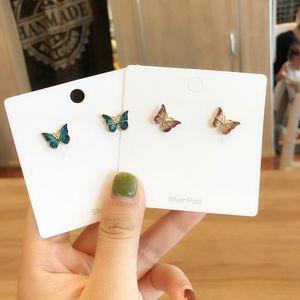 Eleganti orecchini a bottone da donna con smalto a farfalla 2019 Orecchini in lega color oro verde viola Accessori per orecchini