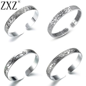 ZXZ High Quality Retro Thai Carved Lotus Flower Bangles for Women Men Fashion Jewelry Gift