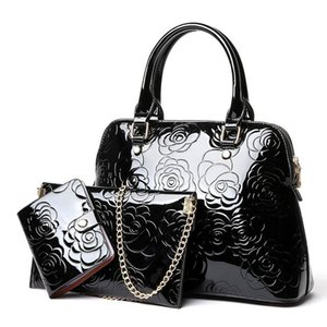Womens Bag 2019 New Style Women Patent Leather Three-Piece Mother Bag Fashion Bright Leather Handbag Shoulder Messenger Bag Large