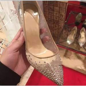 Hot Sale-Fashion Sexy Women Pumps Peep Toe Crystal Buckle Strap Party Wedding shoes Golden Air Mesh See-through Ankle Strap #9022