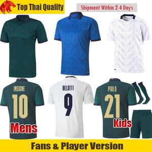 Fans Player versão Itália de Futebol Insigne 2020 EURO Itália Mens uniforme Crianças Kit PIRLO JORGINHO TOTTI Football Shirt