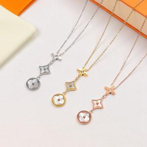 Frauen Designer-Halsketten-Schmuck neue Art und Weise Luxus-Halsketten-Qualitäts-Edelstahl-Blumen-Shell-Anhänger-Halskette