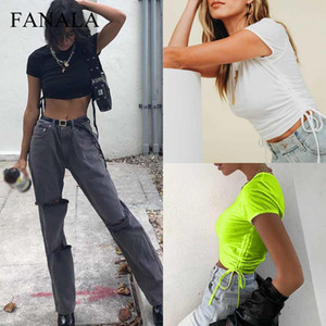 Côté plissé femmes d'été t-shirt sexy solide o cou t manches courtes shirs moulante tops courtes cordon occasionnels dames t-shirts