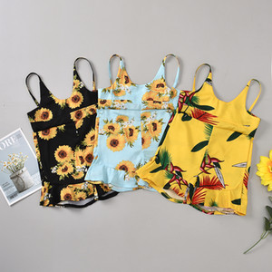 Fashion Kids Baby Girls Sunflower Rompers Girl Clothes Sleeveless Sling Jumpsuit Summer Children Girl Playsuit