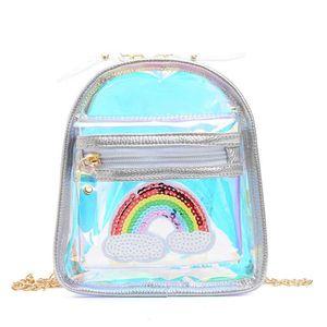 Ins fashion rainbow girls bags Mini kids bags chain Girls Shoulder Bags Kids Messenger Bag sequin Childrens Bag B1295
