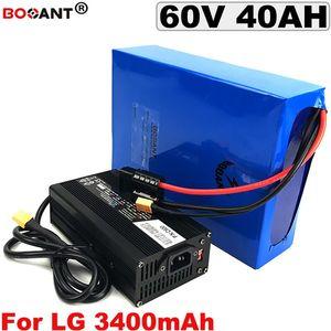 60 볼트 40AH 전기 자전거 리튬 배터리 60 볼트 LG 18650 셀 전자 자전거 배터리 60 볼트 Bafang BBSHD BBS02 2000 와트 3000 와트 모터
