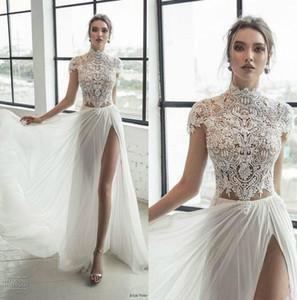 2020 Sexy Julie Vino dentelle robes de mariage à col mancherons Slit abiti plage Robes de mariée Robes A Pays ligne Robe de mariée Plus Size
