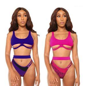 Cor sólida Cintura alta dois pedaço Bodysuits Womens verão Beachwear Sexy oco Out Womens Bikinis Moda