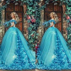 Vestidos Quinceanera 2020 Cinderela 3D Handmake Flores Azul vestido de baile vestido de 15 anos de debutante Doce 16 vestidos de princesa