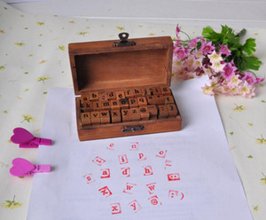 100pcs Vintage DIY Multi Purpose Regular Script Lowercase Alphabet Letter Decoration Wood Rubber Stamps Set Wooden Box SN2635