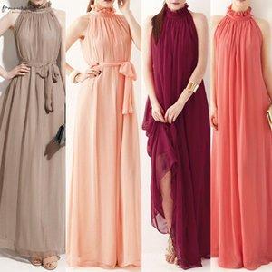 Women Formal Solid Color Wedding Evening Party Long Dress Ladies Sleeveless Ruffled Collar Elegant Chiffon Long Dress With Belt