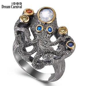 DreamCarnival 1989 New Arrived Gothic Ring for Women Black Octopus Style Colorful Zircon Hot Pick Chic Jewelry Wholesale WA11642