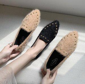Chaussures floconneux vêtements d'extérieur Femmes 2020 Printemps New Style Mocassins confortable, plus Moccosins Rivet Velvet Mode Femmes Casual Chaussures taille 35-40