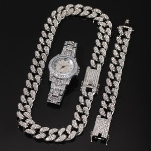 Chain Hop Bling Hip Set Necklace Necklace Diamond Iced Out Miami Cuban Link & Gold Silver Watch Bracelet Mens & Chain Jewelry Knjau