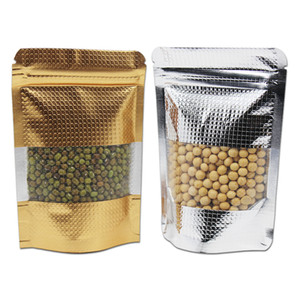 200Pcs lot Gold Silver Stand Up Embossed Design Aluminum Foil Zipper Packaging Bag with Clear Window for Tea Nuts Ratail Storage