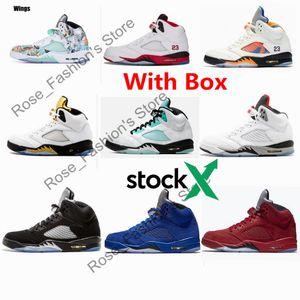 Com Box 2020 5 Red Wings fogo Mens tênis de basquete 5s Ilha Verde Orange Peel Branco Black Grape Sports Sneakers grátis Shippment
