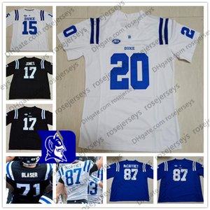 Maßgeschneiderte Duke Blue Devils # 21 Mataeo Durant 51 Victor Dimukeje Royal Schwarz Weiß NCAA College Fußball Trikot 4XL