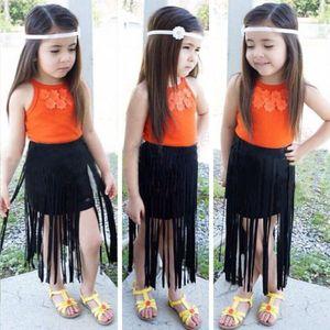 Pudcoco menina Set US Crianças Bebés Meninas 2pcs Outfits Boho Flor Tops + borlas saia Maxi 2Y-8Y SU