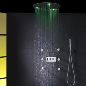천장 샤워 헤드 세트 20 인치 미스티 강우 샤워기 초박형 화려한 욕실 뜨거운 차가운 샤워 혼합 스파 샤워 수도꼭지