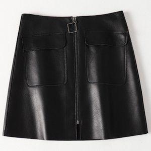 2019 New Fashion Genuine Real Sheep Leather Skirt H35