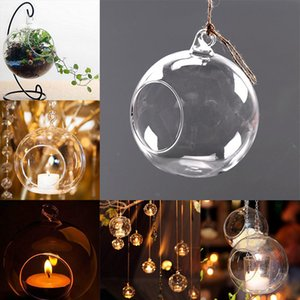 Clear Glass Round Hanging Candle Tea Light Holder Candlestick Home Wedding Party Dinner Decor Round Glass Air Plant Bubble Crystal Balls