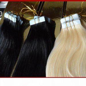 XCSUNNY Tape In Human Hair Extensions Straight 100g pack Tape Remy Hair Indian Remy Tape Human Hair Extensions