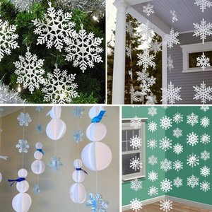 12Pcs 3M 3D Card Paper Christmas White Snowflake Paper Flowers Garland Banner For Wedding Holiday Festival Party Home Decoration