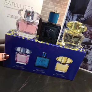 Beleza 3 in1 Makeup Primer Set Mulher 30ml Rosa Men Amarelo Preto Kit Perfume Gift Box Marca Cosmetic