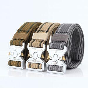 8 couleurs Équipement militaire Solid Designer Ceinture Hommes Tactical Ceintures Jeans Pantalons en nylon Sangle en toile Métal Boucle ceinture