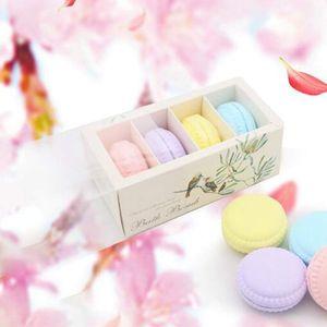 Bombes de bain Macaron Gâteau Huile Essentielle Bain moussant sel balle aromathérapie Baignoire Explosion Boule 4Pcs (Multicolor)