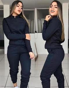 Diseñador de las mujeres de la cremallera de la mosca chándales collar del soporte de conjuntos de dos piezas ocasionales de la manera sólidas para mujer chándales