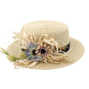 Женская мода Женская Стро канотье Hat Summer Beach Солнцезащитный Sailor Bowler Flat Top Cap цветок ленты 4