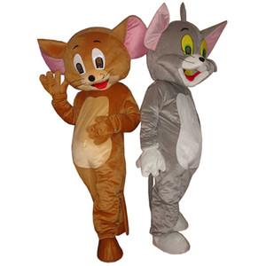 Halloween Tom Cat und Jerry Maskottchen Kostüm Hohe Qualität Maus Cartoon Anime Thema Charakter Weihnachten Karneval Phantasie Kostüme
