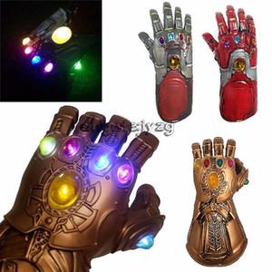 Мстители Эндшпиль 36 СМ Thanos Iron Man перчатки со светодиодом 2019 Новый детский взрослый Хэллоуин косплей Натуральный латекс Перчатки Бесконечность Игрушки